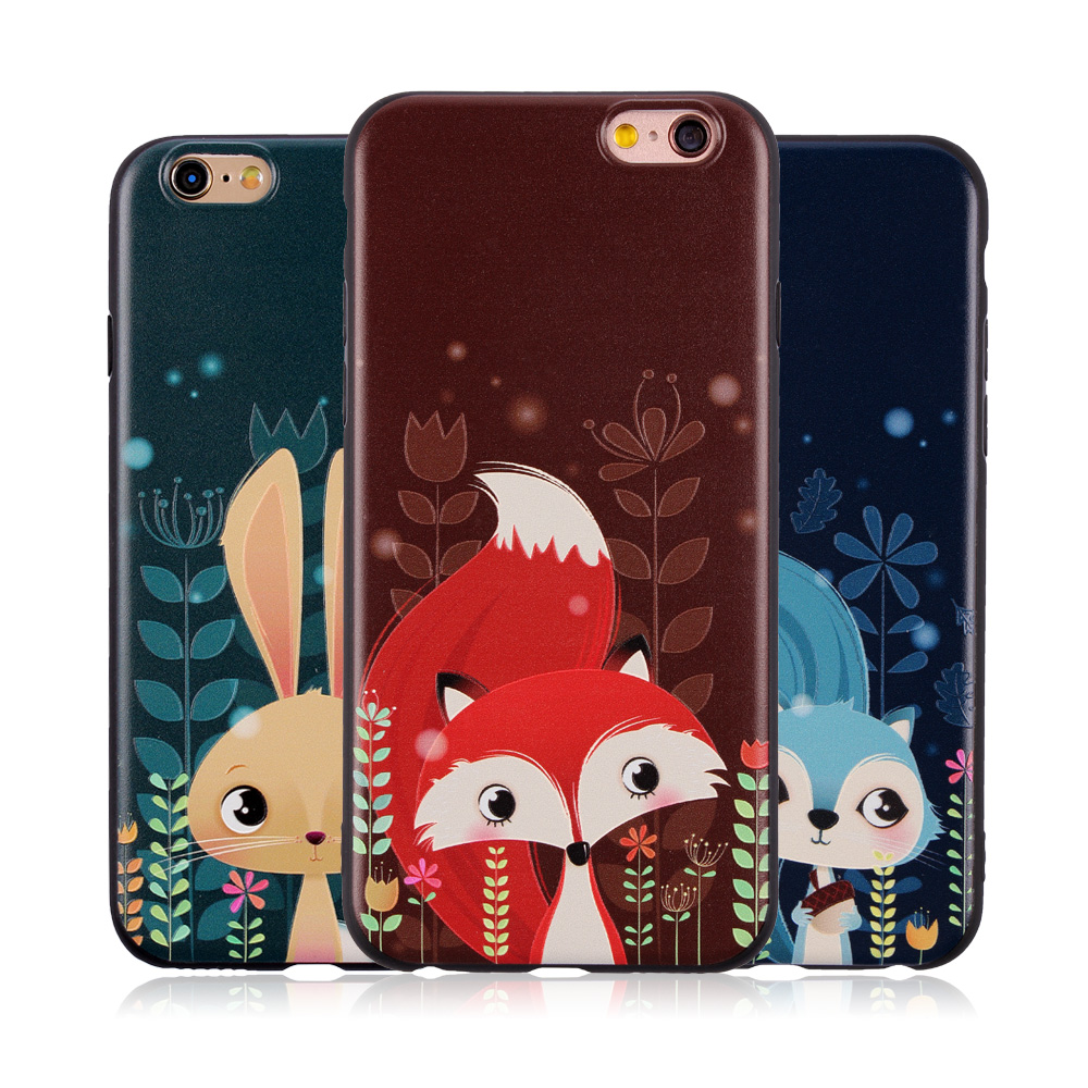 Cute cartoon animals Soft Silicone Case For iphone 7 5 5S ...