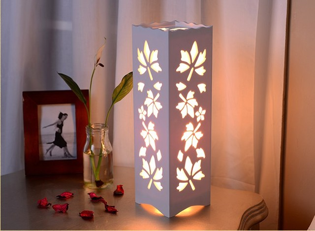 Minimalist Ivory White Wood Plastic Plate LED Table Lamp, Abstract Design  Through Cared Bedroom