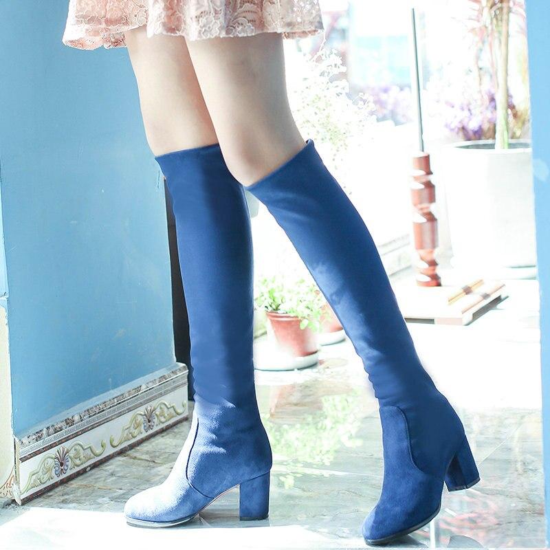 Femelle Troupeau Sur Le Genou Bottes Talon Haut Carré Mode Bottes S'enfilent Hiver Dames Chaussures Bleu Noir Rouge léopard
