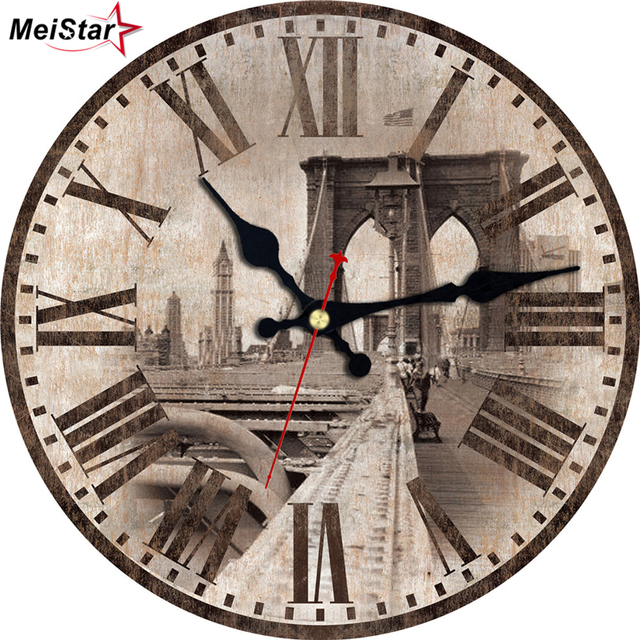 MEISTAR Vintage Wall Clocks Bridge Design Silent Corridor Cafe Office  Kitchen Watches Home Decor Art Retro