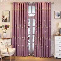 Пастырской стиль 80% затенение шторы для спальня окна Гостиная элегантные шторы вышитые цветочные плотные