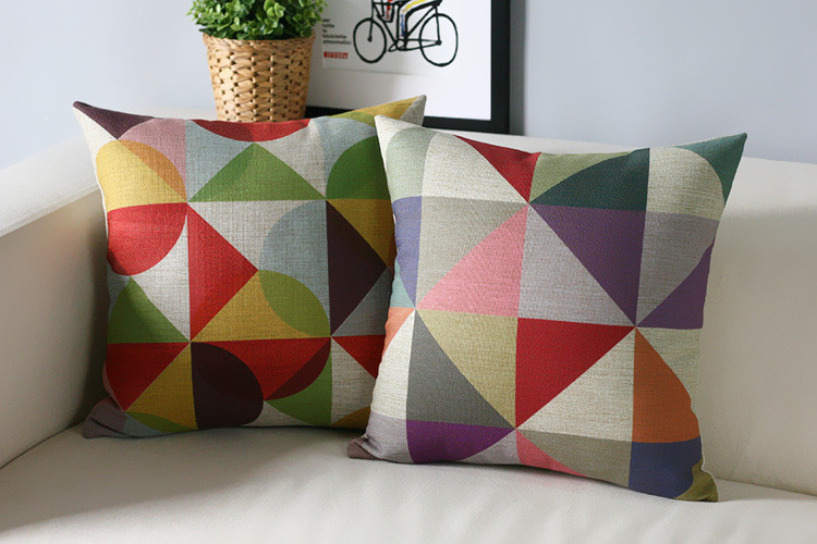Wholesale! Simple Colored Geometric  Linen Pillow  Cushion  Pillowcases For Office Car Home Decorate Sofa Cushions