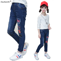 2018 New Style Baby Girl Jeans Kids Pants Casual Letter Print Trousers Children Clothes Casual Korean