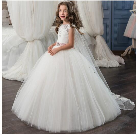 Girl's Long Formal Dress 2017 Sleeveless Girls Princess Dresses Kids Lace Gauze Party Gowns With Shawl Children's Wedding Dress long criss cross open back formal party dress