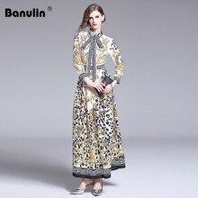купить Designer Dresses Runway 2019 High Quality Fashion Summer Dress Women Bow Neck Vintage Print Long Maxi Dress Robe Femme Ete по цене 2097.59 рублей