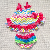2016 new hot baby girl multicolour chevron sets swing top baby outfits child toddler sets kids cute rompers july 4th outfits