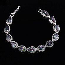 Color de lujo circón pulsera de plata de la manera plateó la joyería AAA circón pulsera joyería al por mayor