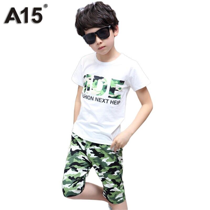 A15 muchachos determinados de la ropa 2017 del verano fijado para niño camuflaje