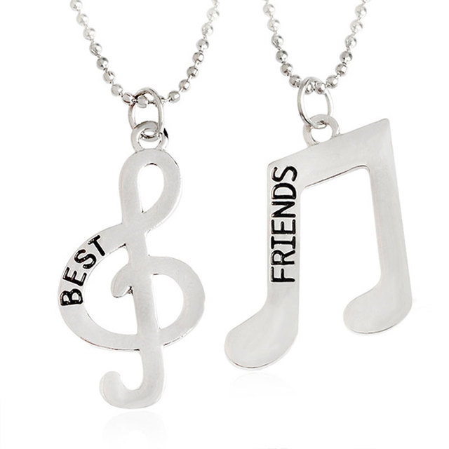 Ly Queen My Friend Forever Bff Fashion Music Symbol Necklace Best