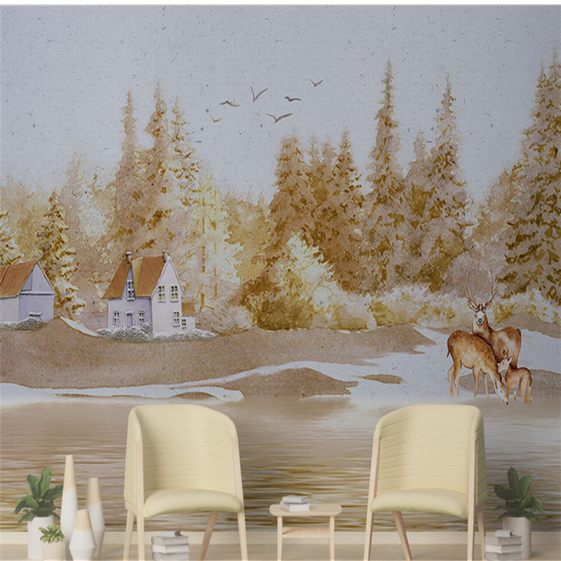 Hand-painted Oil Painting Wallpapers Vintage Woods Wall Murals 3D Country Wallpaper American Style Floral Mural for Living Room hua tuo landscapes hand painted oil painting