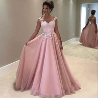 Gorgeous Pink Lace Appliques Prom Gowns A Line Long Tulle Evening Gowns Floor Length Fluffy Formal Party Dresses Custom Made