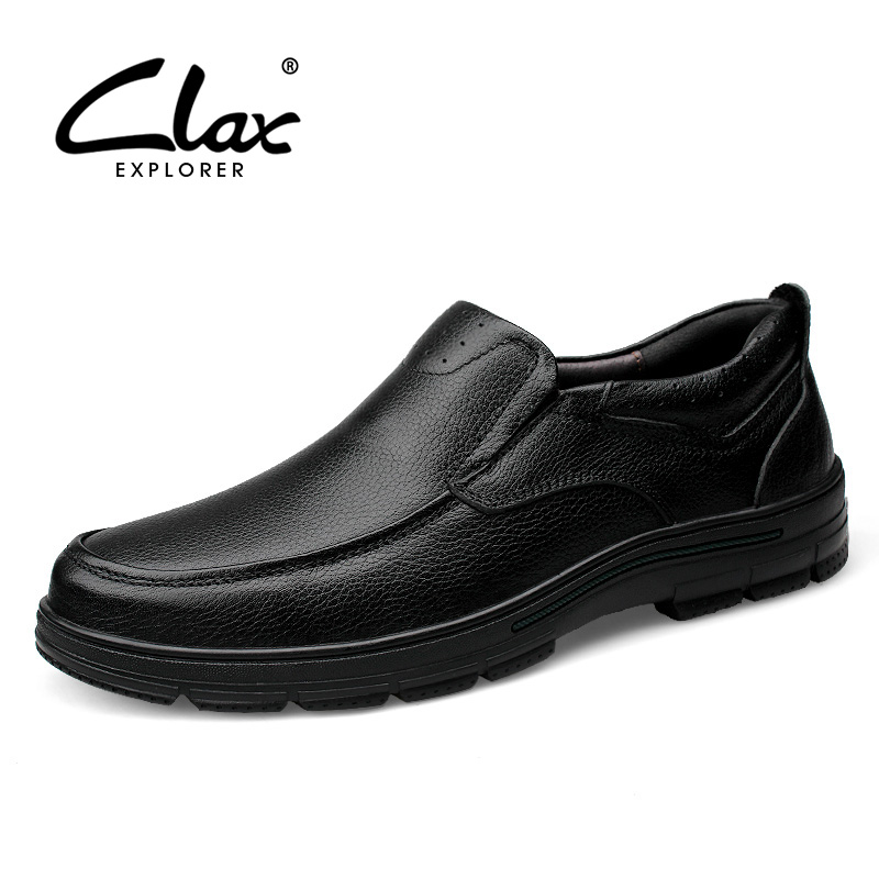 Clax Men Dress Shoe Genuine Leather Spring Autumn Men's Business Shoes Slip On Male Black Elegant Formal Loafer Luxury Brand цены онлайн