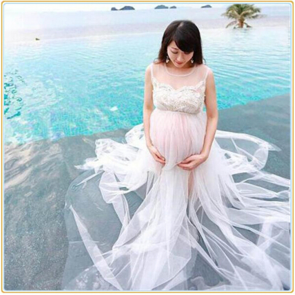 Summer Style White Chiffon Maternity Long Dress Pregnant Photography Props Fancy Pregnancy Photo Shoot Beach Top Dress