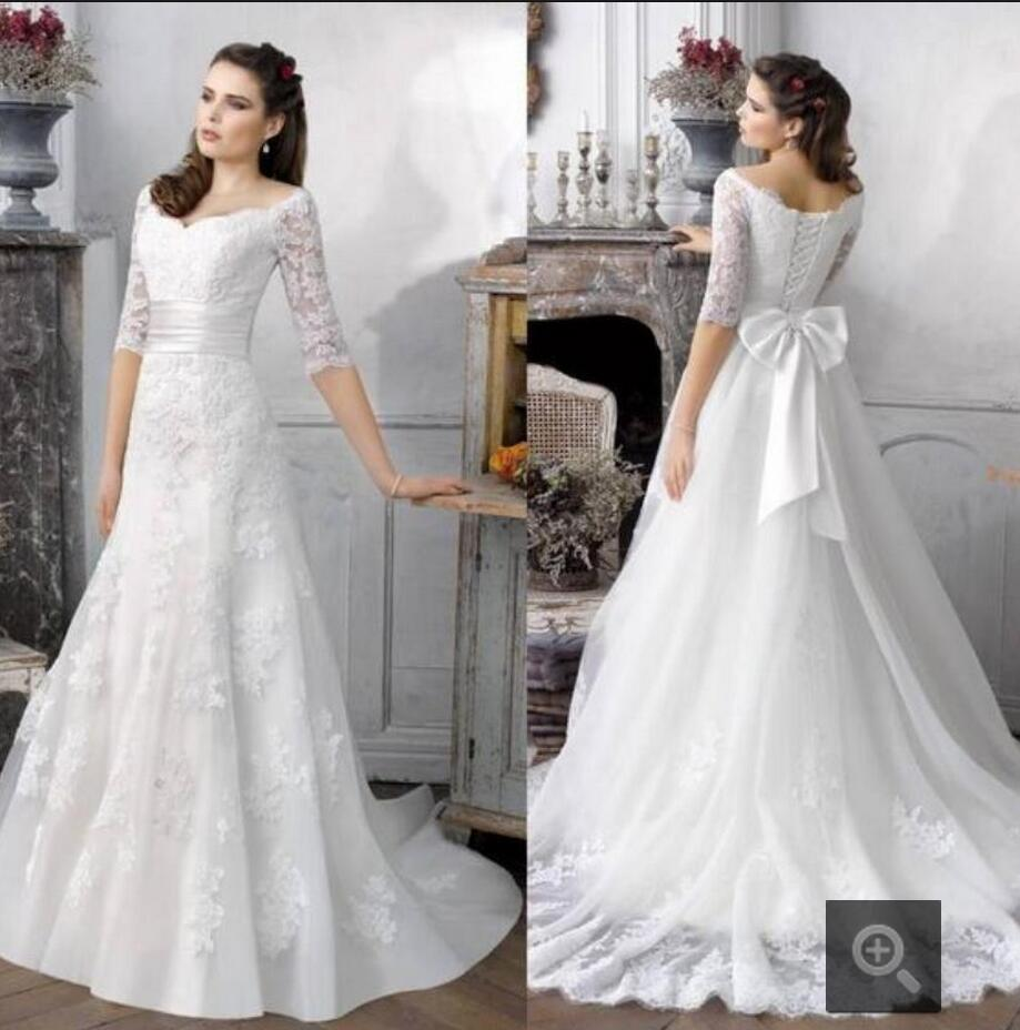 c526423a343e6 A line Beaded Lace Appliques 2 in 1 Wedding Dresses Detachable Removable  Train vestido de noiva Two 2 Pieces Bridal Gowns-in Wedding Dresses from  Weddings ...