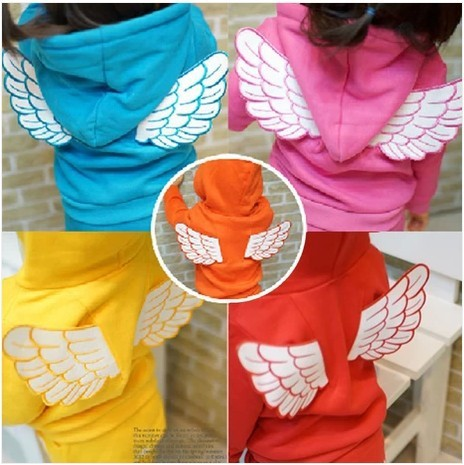 Retail  2017  New Arrival Children Set Baby Girls Boys Spring Autumn 2 pcs Set Angel Wing Hoodies Sweater Coat+Pants suit