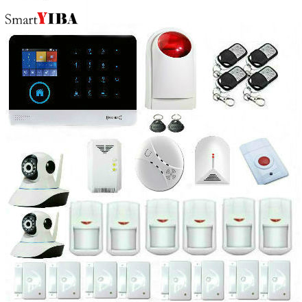 SmartYIBA Wireless GSM WIFI Home Business Security Alarm System RFID Card Remote Control Smart Security System Burglar Alarm smartyiba 3g wcdma alarm system app remote control rfid card wireless home security wifi burglar alarm system wireless siren
