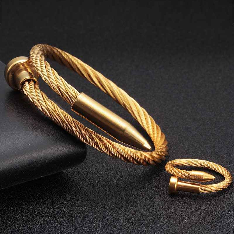 Luxury Brand Chain Link Sporty Men Women Charm Bangles Stainless Steel Braided Open Fashion Cuff Gold Bullet Bracelets