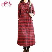 Vintage Plaid Women Long Dress Autumn Spring Extra Thick Length Mori Girl Loose Autumn Preppy Style
