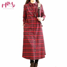 Vintage plaid women long dress autumn spring extra thick length mori girl loose autumn preppy style dress classic casual dress