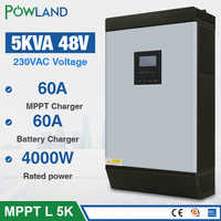 5KVA Solar Hybrid inverter 4000W 48Vdc to 230Vac Pure sine wave 50/60HZ 48V 80A MPPT Solar Charger และ 60A AC charger