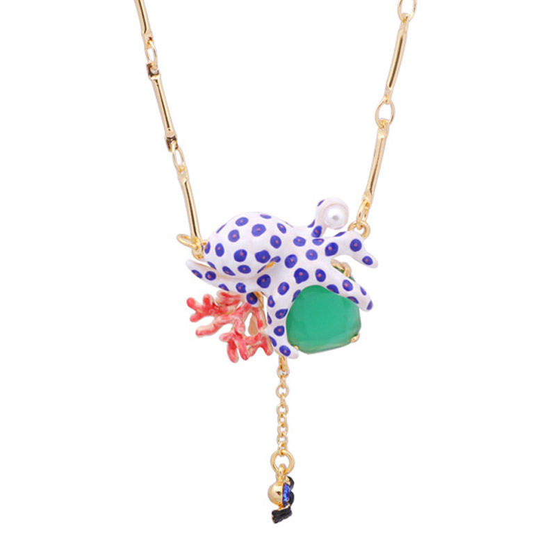Unique octopus coral choker necklace for women charms luxury marine life pendant necklaces lady party jewelry unique mermaid with shell pendant necklace for women enamel glaze fashion choker necklaces lady party jewelry