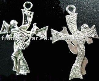 FREE SHIPPING 120pcs Tibetan silver skull & cross pendants A1115