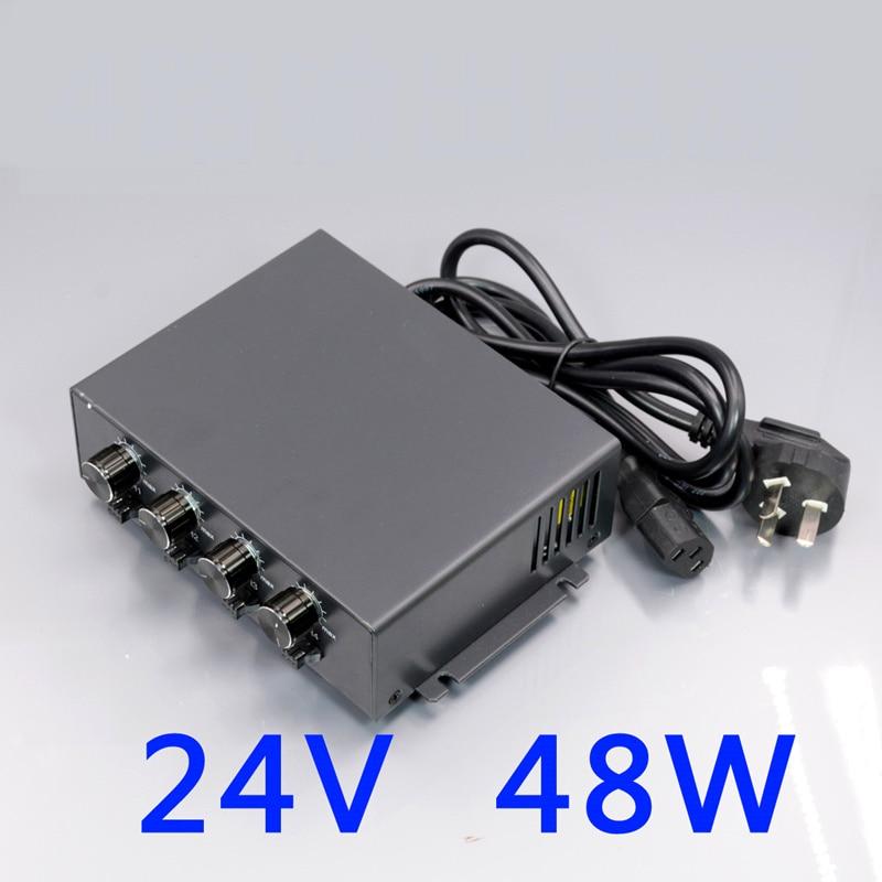 24V48W светодиодный Мощность контроллер 4 Каналы Регулируемый Яркость машина видение освещения Мощность адаптер 3PIN 2 Интерфейс