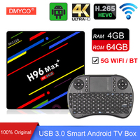 5 pieces Original H96 MAX Plus Android 8.1 4G 64G Set Top Boxes 4K HD H.265 Smart TV Box USB3.0 Dual Wifi Wholesale Media Player