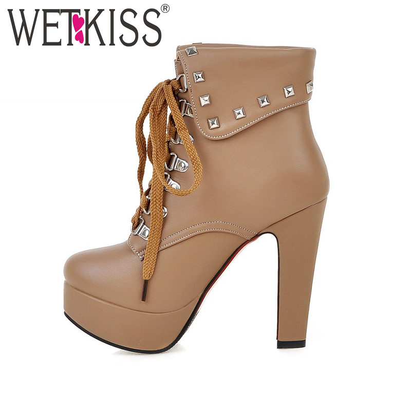 WETKISS Big Size 32-48 2017 Spring Style Thick High Heels Rivets Lace Up Ankle Boots Platform Women Boots Fall Winter Shoes plus size 34 43 2016 patch color ankle boots thick high heels skid proof platform shoes woman rivets lace up fall winter boots