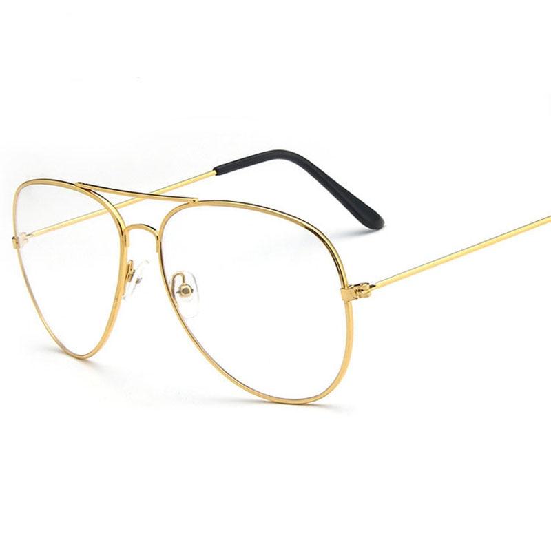 Classic Gold Frame Glasses women Clear Frame Glasses For Women Men ...