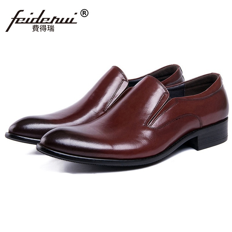 Pointed Toe Slip on Man Casual Shoes Genuine Leather Male Bridal Office Loafers Luxury Brand Designer