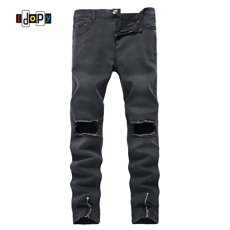 Fashion Mens Ripped Jeans Brand Designer Skinny Fit Jeans Hip Hop Distressed Denim Pants With Bottom Zippers For Men mens fashion designer skinny distressed slim jeans biker hip hop hole blue black elestic denim jeans ripped jeans for men