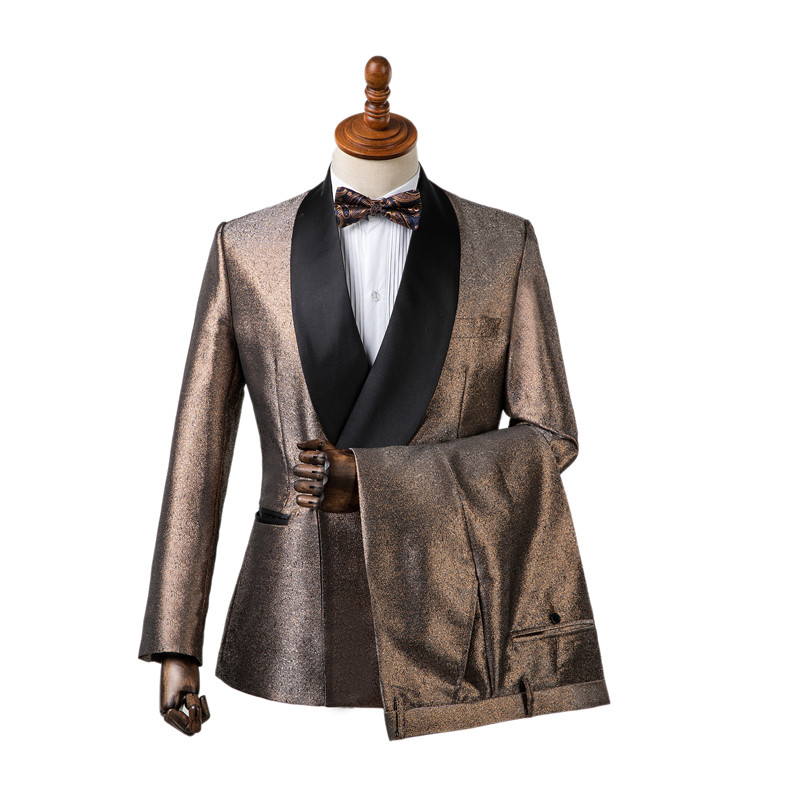 1dd0f6d65d009 Gwenhwyfar Men Suits New Designs Shinny Gold Formal Wedding Men Dress  Double Breasted Suits Slim Fit ...