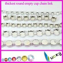5 metrów Stronggest najgrubsza, 6mm, 8mm, 10mm, 12mm okrągłe puste rivolis chain link dla kryształ ustawienia posrebrzane metalowe pazur