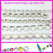 5 yards Stronggest Thickest 6mm 8mm 10mm 12mm round empty rivolis chain link for crystal settings silver plated metal claw