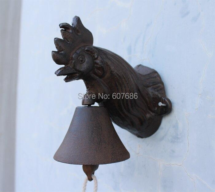 Metal Wall Mount Rooster Welcome Bell Rustic Farm//Yard//Garden//Patio Door Decor