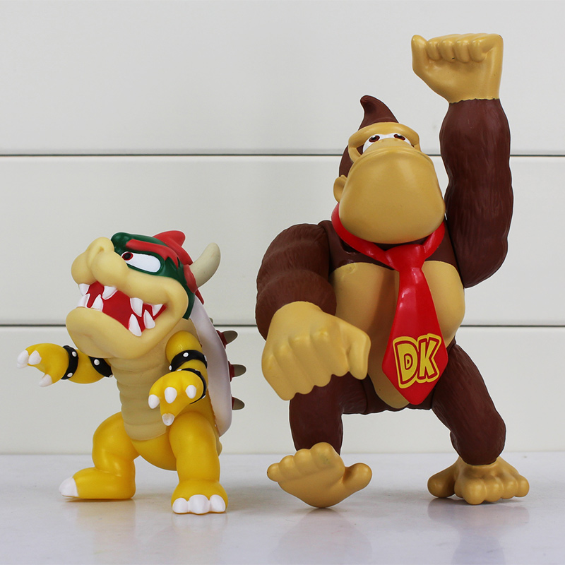 10CM-15CM Anime Super Mario Bros Koopa Bowser PVC Doll Donkey Kong Figure Toy Mario Monkey Chritmas Gift Brand New For Kids