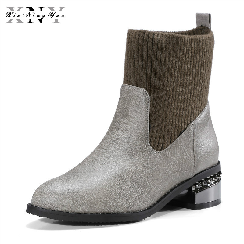 XiuNingYan Brand Women Sock Boots Pointed Toe Design Women Med Heel Ankle Boots Fashion Autumn Winter Shoes Woman Big Size 32-48