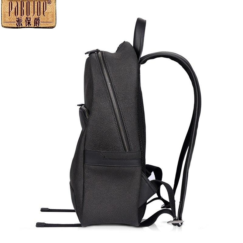 100 Rucksack Travel Leder Neue Verschiffen Schultern Fashion 2018 Rindsleder Black Echtes Paket Marke Pabojoe Männer Frei UwftxX4nq