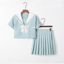 Academic Style School Girl Outfit Japan South Korea Student Uniform Light Blue JK Uniforms Girls Sailor Top Pleated Skirt
