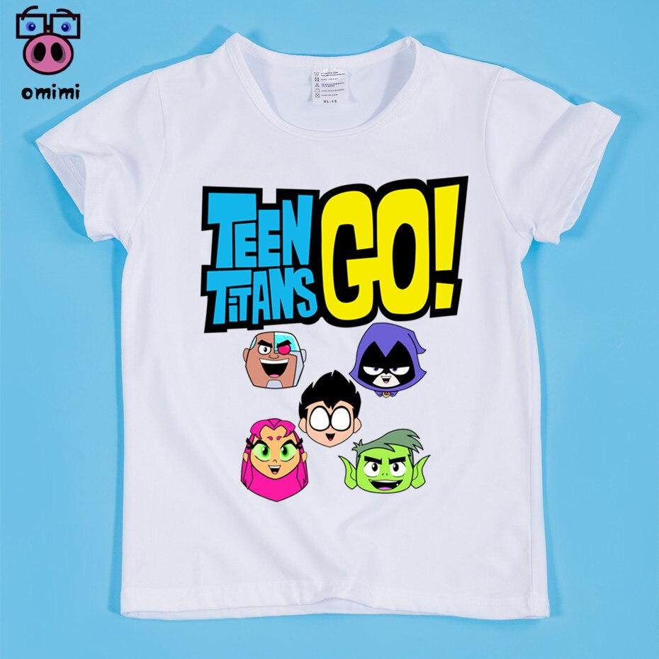 В наличии, Размеры (90-160 см) детская Starfire мультфильм милый Дизайн Футболка с принтом для мальчиков и девочек Лето O шеи Мягкая футболка