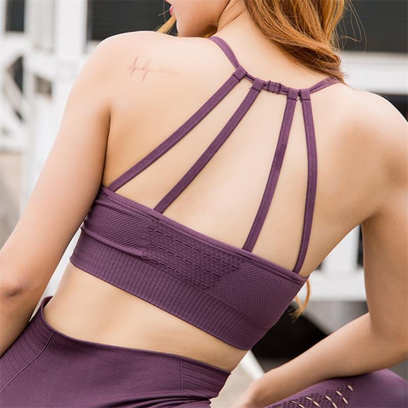 purple strappy workout bra