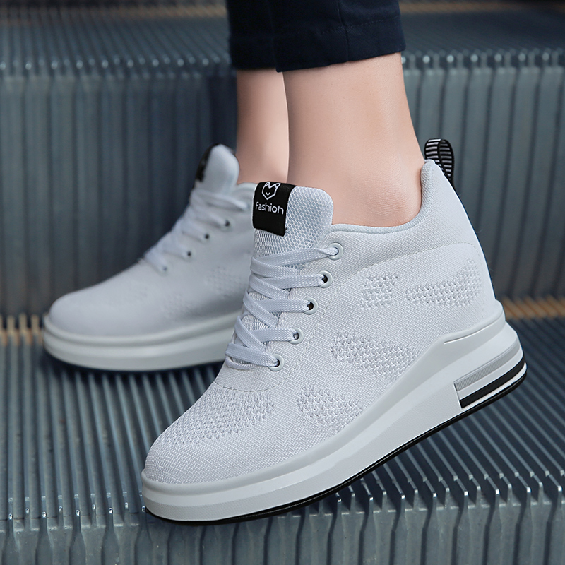 Hide Heel Women Fashion Sneakers Flying Knitting Wedge Casual Shoes Woman Air Mesh Breathable Autumn High Top Ladies Shoes SH3