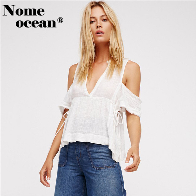 a8a1383555 Cut Out Cold Shoulder OL Shirts V-neck Drawstring High Waist Blouses 2018  Summer Short Sleeve Blouse Tops of Women M17060609