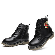 NEW Autumn/Winter Genuine Leather Shoes Boys Girls Martin Boots Kids Motorcycle boots Student Ankle Snow Boots Kids Shoes 044