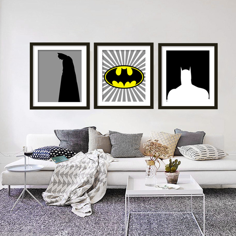 Batman super hero print kids canvas wall art bat decor poster painting dark knight wall for Canvas prints childrens bedrooms