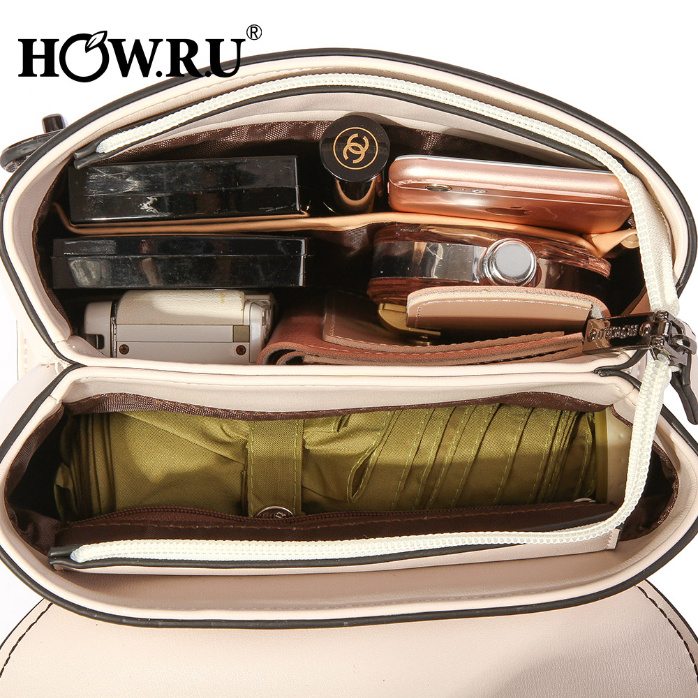 HOWRU Small Flap Bags For Women 2019 Luxury Handbags Women Bags Designer Patchwork PU Leather Chains Shoulder Messenger Bags     5