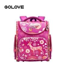 b1d7981c62d43 GOLOVE العلامة التجارية حقيبة مدرسية على ظهره للفتيات العظام الظهر الكرتون  الغزلان الاطفال حقائب مدرسية الابتدائية الاطفال حقيبة