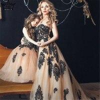 Цветок для мамы и дочки Свадебные платья синий двойными оборками Кружева Свадебное бальное платье юбка пачка для девочек Макси длинное пла