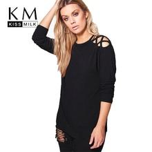 Kissmilk для женщин; Большие размеры Criss Cross Cold Shoulder вязать Топы Твердые длинным рукавом Футболка Пуловеры эластичный большой Размеры футболки